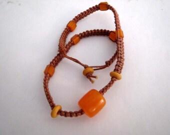 Macrame bracelet, ethnic bracelet, mixed beads, earth colour, brown, yellow, orange, unisex, OOAK