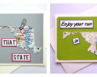 Maryland - Run (or RAN) That State or Enjoy Your Run - Handmade Running Greeting Card for Marathon, Half-Marathon, 10K, 5K Runners