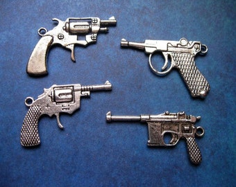 4 Large Gun Pendants - Collection in Silver Tone - C1476