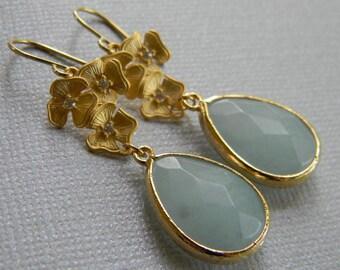 Mint Earrings - Swarovski Earrings - Statement Jewelry - Bridal Earrings_Dangle Earrings- - Mother's Day Gift