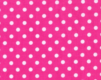 Clearance Sale One Yard Michael Miller Dumb Dots CX2490 Fuchsia Hot Pink White Dots