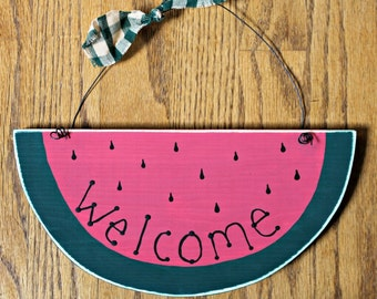 Wooden Welcome Watermelon Sign