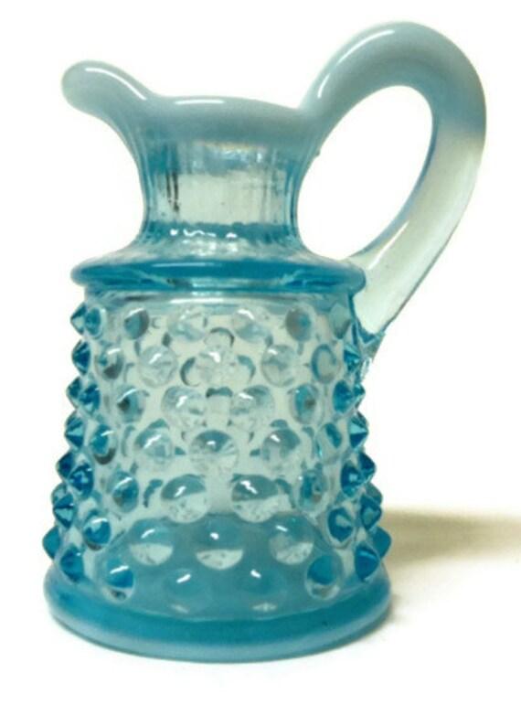 Fenton Blue Cruet- Opalescent Hobnail- Vintage Art Glass- Blue Bridal Shower- Garden Setting- Elegant Fancy Ornate- Under 20- Vanity Display