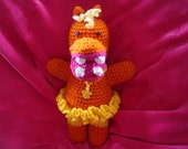 Bright Orange Crochet Hippo with Yellow Tutu and Butterfly Necklace