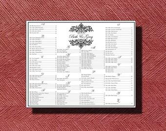 Custom Printable Wedding Seating Chart DIY