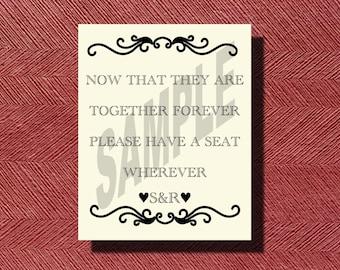 Unique Wedding Reception Seating Sign