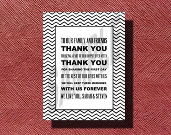 Chevron Wedding Day Thank You Card