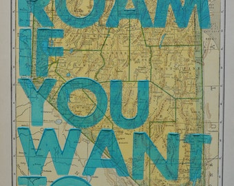 Nevada / Roam if You Want To / Letterpress Print on Antique Atlas Page