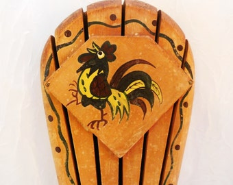 Rooster Knife Holder - Woodpecker Wood Ware - Japan - Vintage
