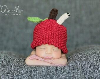 Newborn photo prop, Newborn apple beanie with a worm, photography props, newborn hat, newborn boy, newborn girl, knit hat