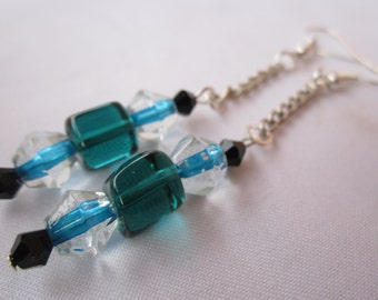 Aqua blue and Onyx black glass beaded dangle fashion style with silver chain connection earrings