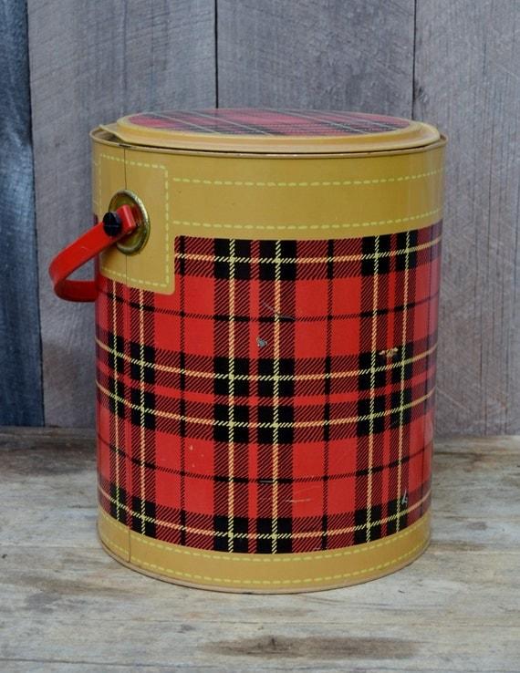 Plaid Picnic Cooler Red Black Metal Hamilton Skotch Petra Cabot 1950's