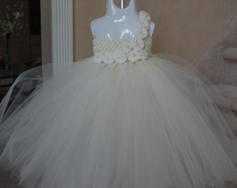 Couture Ivory Vintage-style Tulle Dress-Perfect for any occasion with Ivory hand rolled rosettes and button embellishments.