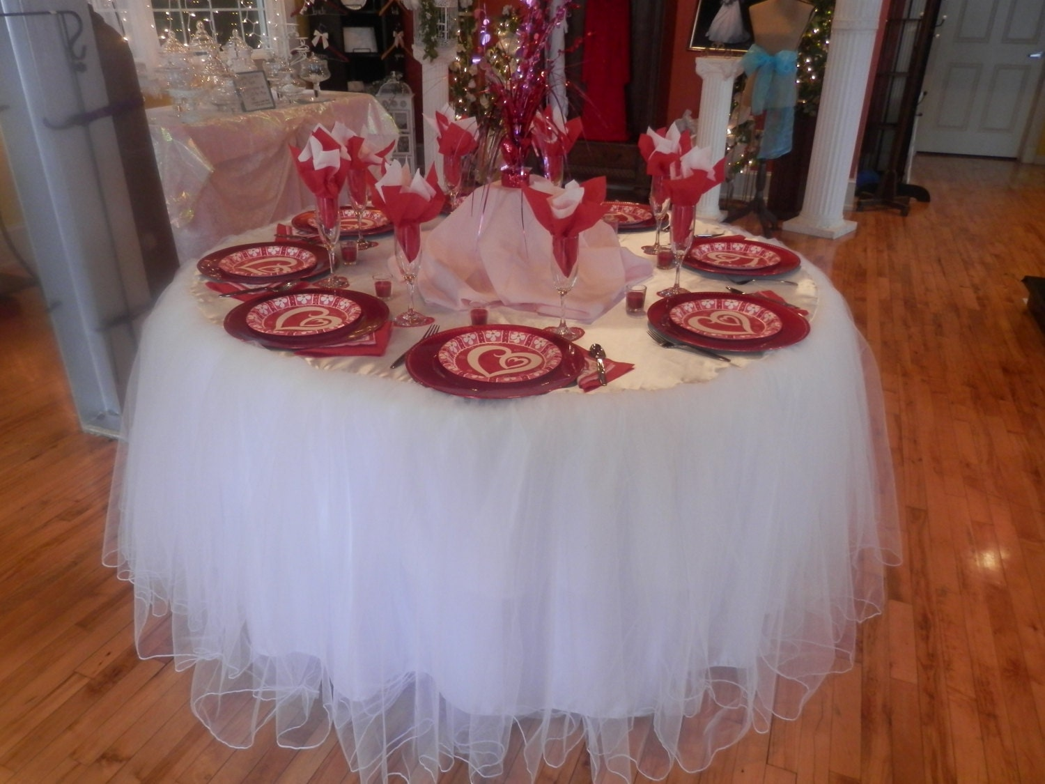 Custom Made Wedding Cake Table Tablecloth White Tulle 60 Inch