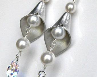 Bridal Earrings, Bridal Jewelry, Wedding Earrings, Dangle Pearl Earrings, Bridesmaids Gifts