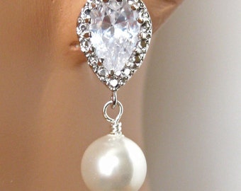Bridal Earrings, CZ Rhinestone Crystal, Bridal Jewelry, Bridesmaids Gifts, Wedding Jewelry, Bridesmaids Jewelry