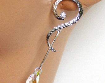 Bridal Earrings, G Clef Crystal Earrings, Long Dangle, Wedding Earrings, Wedding Jewelry, Bridesmaids Gifts