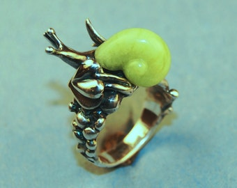 Carved Green Opal and Sterling Snail Ring