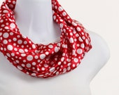 Short Infinity Scarf Classic Silky Red and White Polka Dot - neckStyles