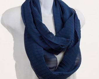 Striking Textured  Infinity Scarf - lovely sheer in  Monaco Blue ~ SH149-L5