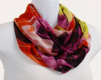 Neon Colors Infinity Scarf - Lovely Wide Sheer - Dramatic Floral ~ SH154-L5