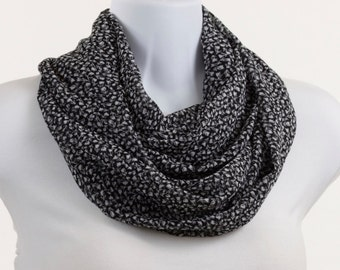 Infinity Scarf - Light Crepe Black and White Floral ~ SH021-L5