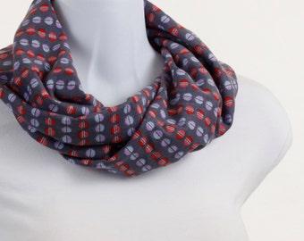 Blue Red Pink Lavender Gray Scarf Festive Silver Sparkle Knit Infinity scarf ~ K007-S5