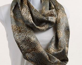 Infinity Scarf -Silky Leopard Print on a Soft Blue Background ~ SK092-L1