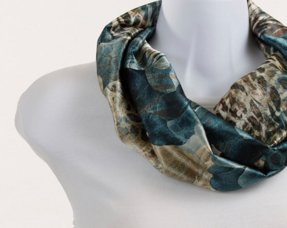 Short Infinity Scarf Subtle Animal Print in Silky Teal, Brown, Tan and Cream ~ SK027-S1