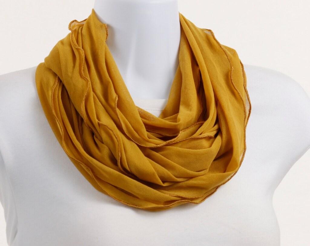 mustard yellow knit mesh open wide infinity neckstyles scarf