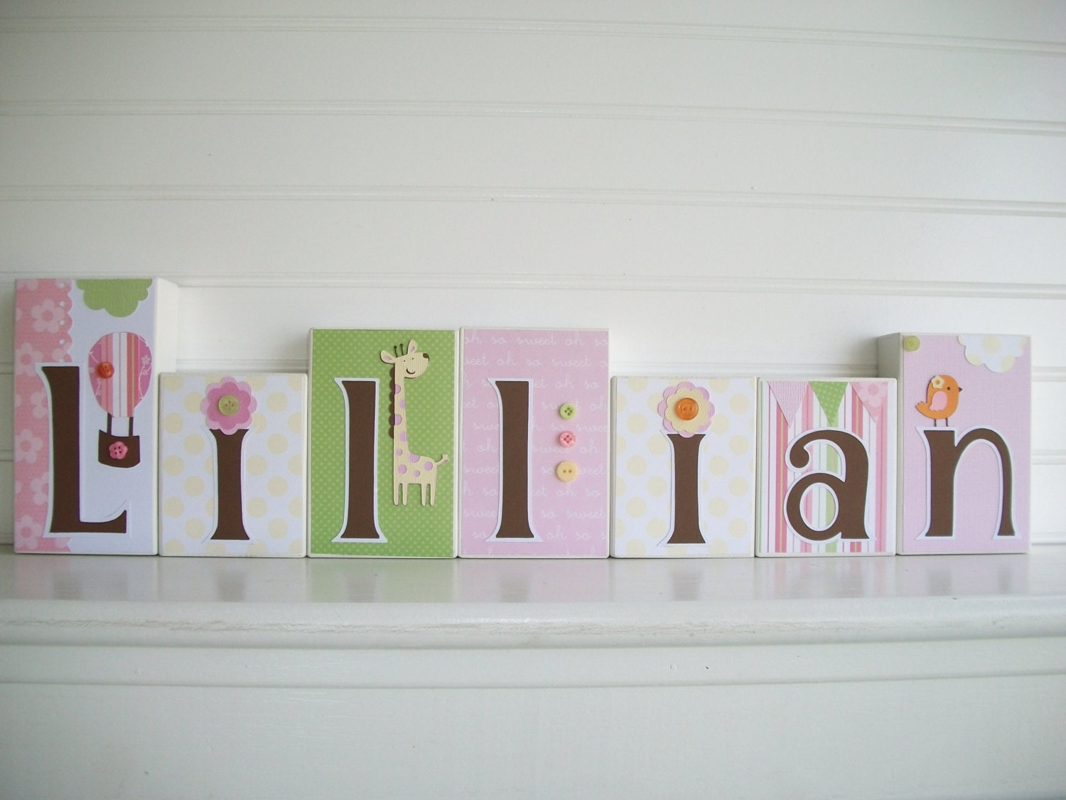 Baby name letters nursery name blocks cocalo by for Baby name letters for nursery