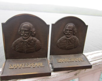 cast iron bookends, shakespeare, very heavy, bronze finish, bookends