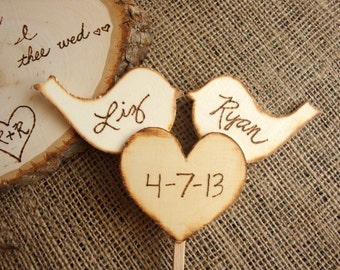 Rustic love birds with heart cake toppers, custom, personalized wedding, shabby chic