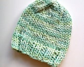 knit baby hat . pastel blue green . organic cotton . infant