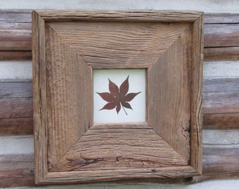 Reclaimed Barn Wood Frame With Red Maple Leaf