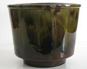 Mid Century drip glaze green and brown planter pot