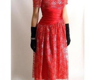 vintage 80s 50s style Red Silver Lace Sweetheart Prom Valentines Party Holiday Dress size M 7 8