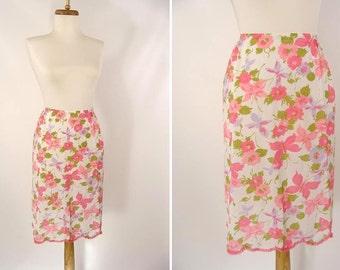 Pink Floral Half Slip. vintage 60s Artemis Nylon Half Slip. Flowers and Butterflies. Scalloped Hem. Skirt. Lingerie. 28 Short Size Small S