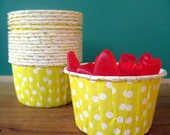 Yellow Polka Dot Portion Cups - CLEARANCE SALE Set of 24 Waxed Cupcake Cups - Nut Cups for Wedding, Birthday or Showers