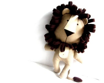 LION toy stuffed lion rag doll soft toy stuffed toy lion plushie lion softie stuffed animal handmade toy brown 30 cm 11.8""