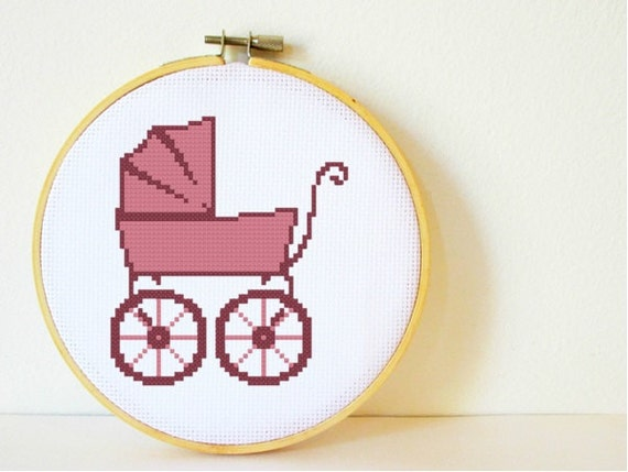 Counted Cross stitch Pattern PDF. Instant download. Vintage Baby Carriage. Includes easy beginners instructions.