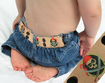 "Toddler Belt - Elastic Snap Belt - ""Arrg Pirates"""