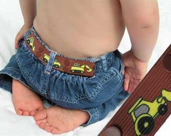 "Toddler Belt - Elastic Snap Belt - ""Construction"""