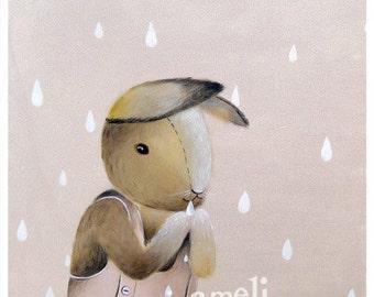 Bunny illustration, kids wall decor, Children's Wall Art, Children's Art, Nursery Decor Bunny Print, gender neutral nursery gift kids animal