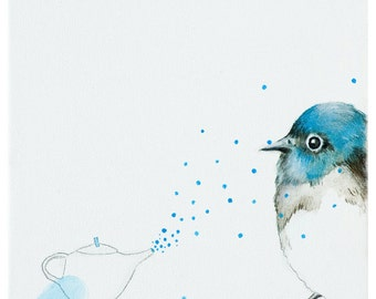 Bird illustration, bird acrylic painting, nursery wall art, blue bird Print, children room decor, whimsical animal art by inameliart