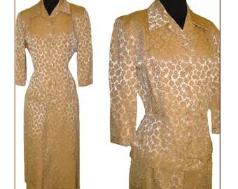 1940s Suit Brocade Silver Copper Couture Femme Fatale Rockabilly Garden Party Mad Men Mid Century Wiggle Dress Designer Jacket