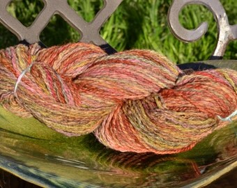 Coral Sunset Hand dyed Handspun Yarn