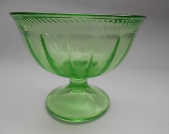 Champagne/tall Sherbet in the Colonial Fluted Pattern by Federal Glass Co- Green