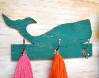 Whale Towel Bathroom Hook Wooden Kids Towel Hook Whale Entryway Coat Hook Beach Towel Hook Coastal Living Decor