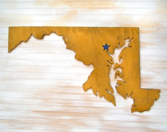"""Wooden Maryland Sign Wooden State Oversized Sign Wall Art 36"""" size City State Large Maryland State Map"""